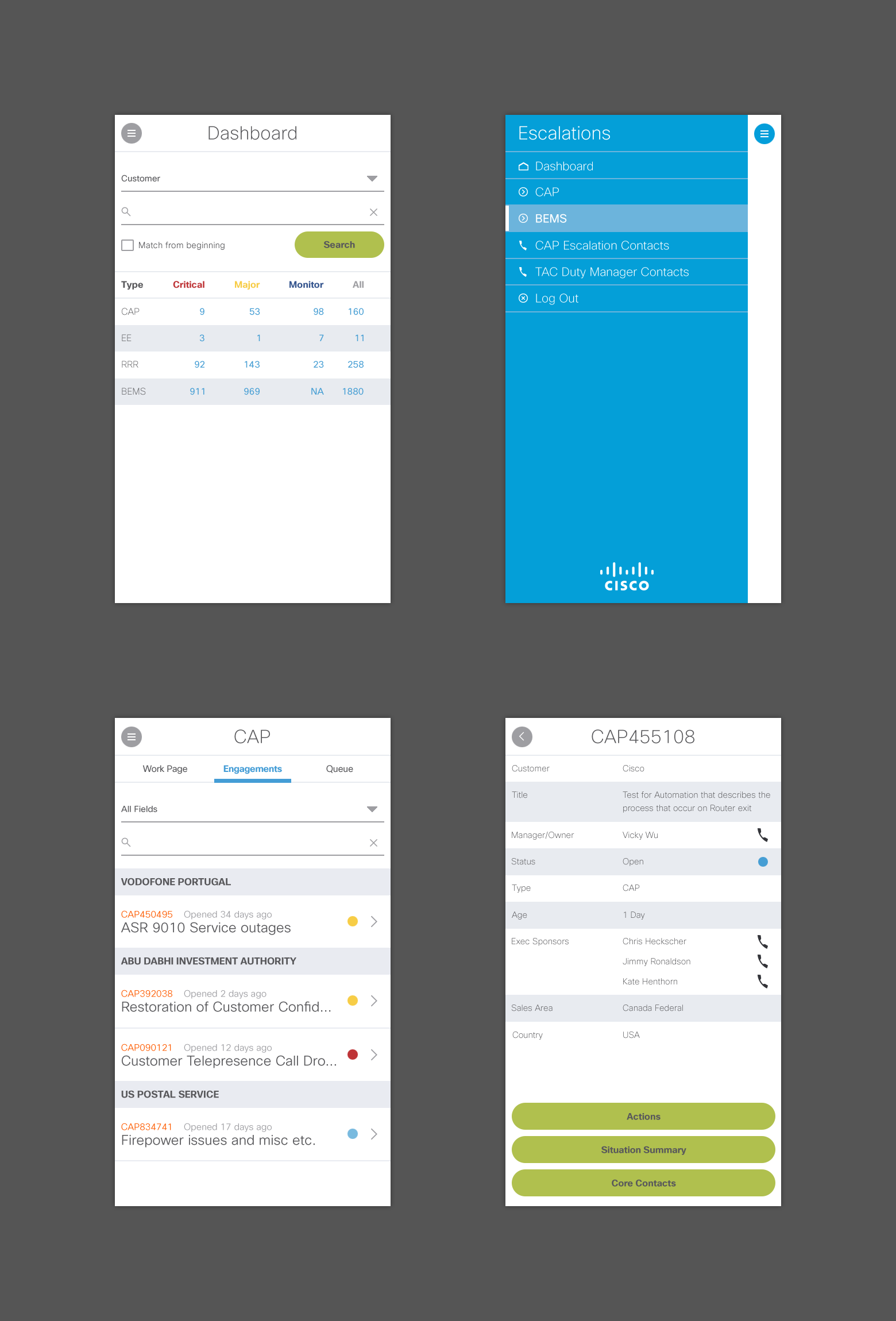Four atlantic mobile mockups. Each screen depicts a different part of a escalation management system