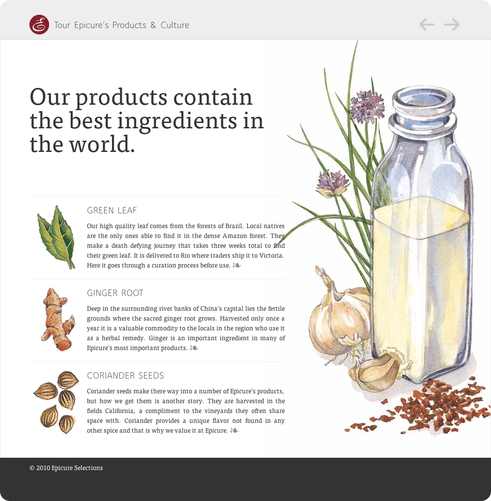 A page explaining that epicure uses the best ingredients in the world