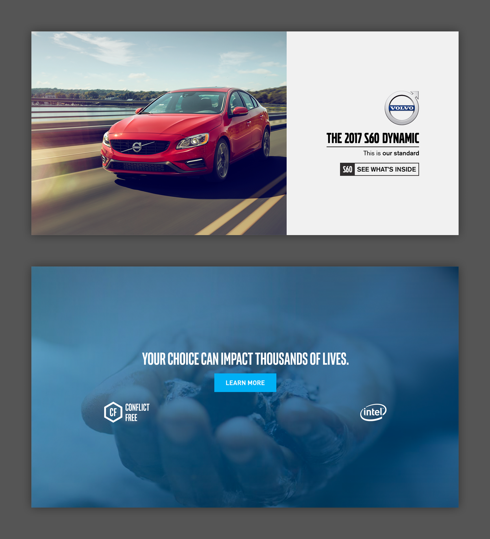 Volvo ad depicting a vehicle and an Intel ad depicting a hand holding rocks