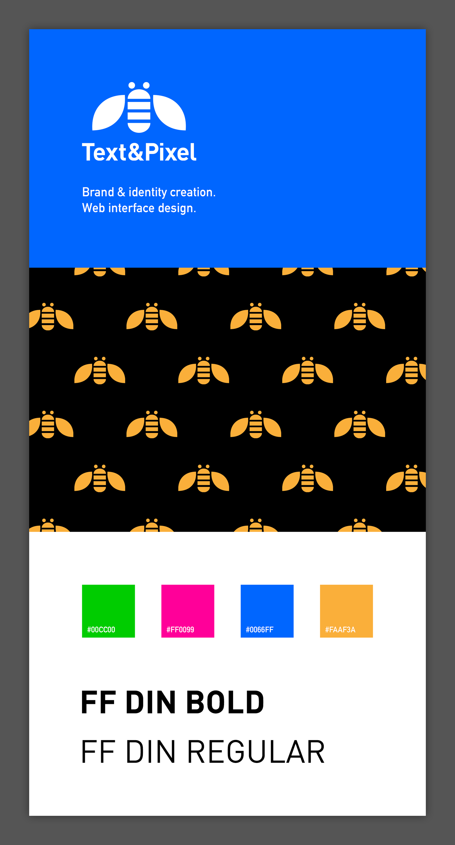 Text&Pixel identity card with logo, primary colours and a pattern of goldan bees against a black background